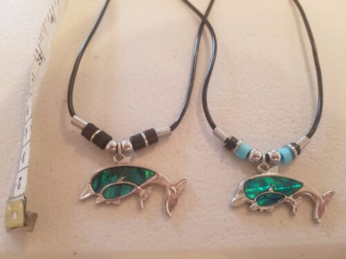Details about  /Blue Dolphin Mom Baby Swimming Paua Necklace Hawaiian Hawaii North Shore