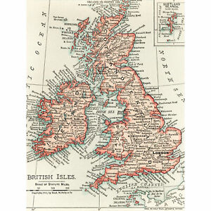 picture regarding Printable Map of Uk and Ireland called Data more than Map Rand McNally 1900 British Isles Eire British isles Chart Major Wall Artwork Print 18X24