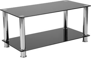 Modern Black Glass Coffee Table.Details About Contemporary Modern Black Glass Coffee Table With Shelves Stainless Steel Legs