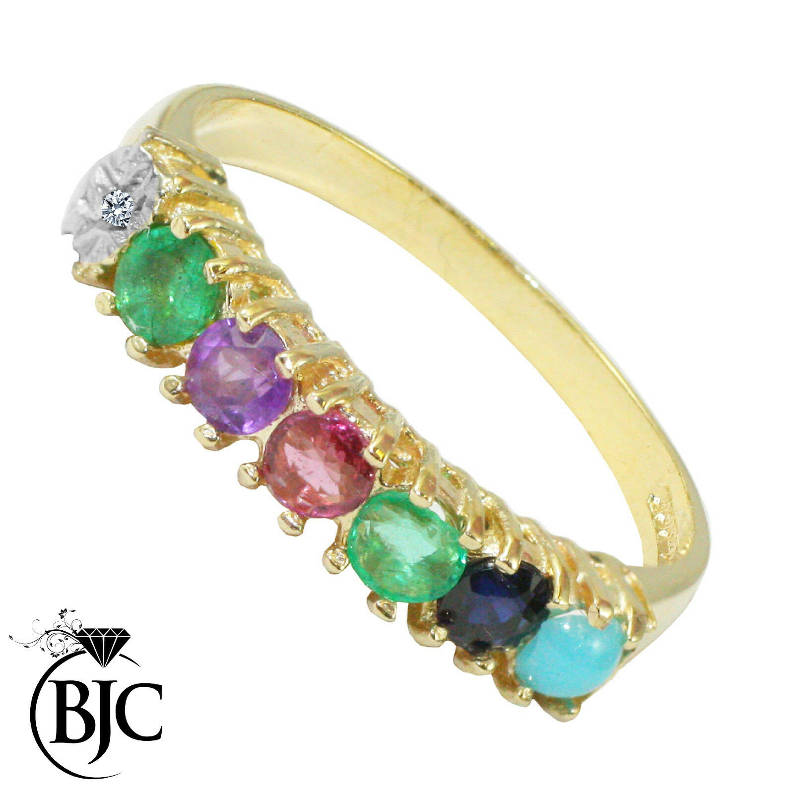 BJC 9 ct gold yellow DEAREST Anillo Diamante Emerald Amatista rubí Zafiro