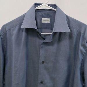 Ermenegildo-Zegna-Dress-Shirt-Regular-Fit-Blue-White-Check-41-16-Long-Sleeves