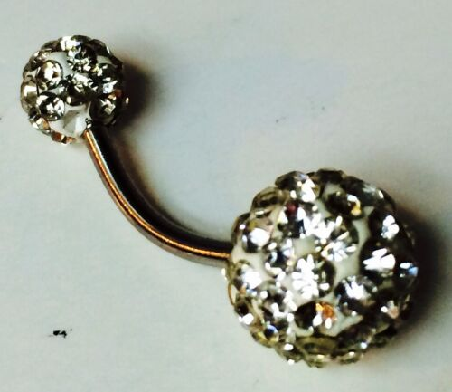 Shamballa style double stone Belly Rings diferent colors with Swarovski Crystals