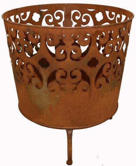 Fuego cesta brasero pebetero metal óxido fuego jardín h49cm d46cm 2tlg.