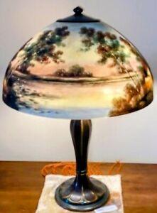 Antique Jefferson Inverser Peint Lampe de table