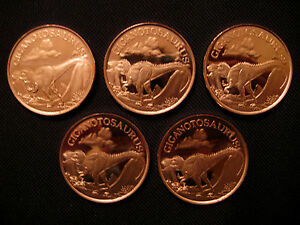 1 Ounce .999 Copper Round Giganotosaurus Dinosaur(5 Coins)