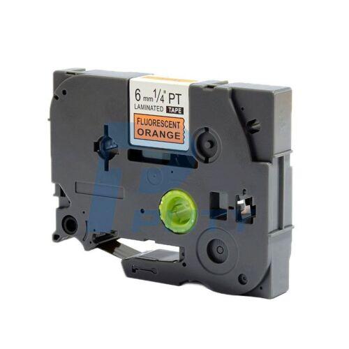 2PK Black on Fluorescent Orange Tapes TZ-B11 TZe-B11 Compatible P-touch 6mm*5m