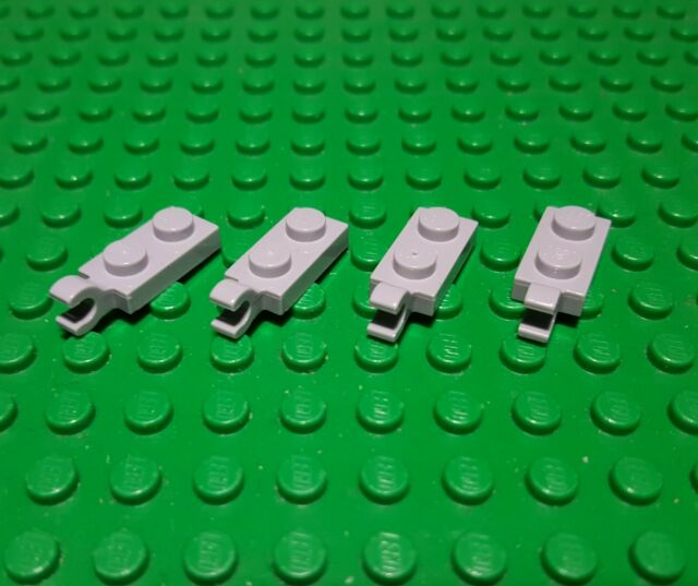 New LEGO Lot of 4 Light Bluish Gray 1x2 Top Clip Plate Parts