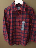 Boys 4 4t Gap Kids Red Plaid Dress Shirt $25 Brushed Cotton L/s Fall
