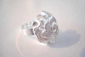 Silver-Tone-Ladies-Rose-Flower-Statement-Cocktail-Ring-Size-Q
