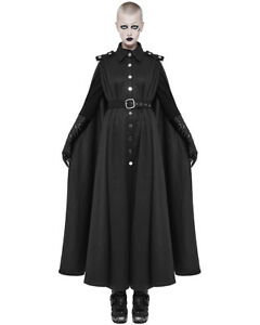 Punk-Rave-Womens-Long-Gothic-Cloak-Jacket-Coat-Black-Steampunk-Military-Cape