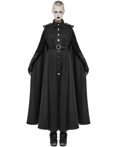 Punk Rave Femme Long Gothique Manteau Veste Manteau Noir Steampunk Militaire Cape