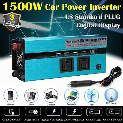 2 AC Outlets and 4 USB Ports 1500//3000Watt 12V DC to 110V AC Car Power Inverter
