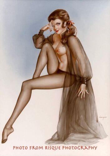"Nude Woman In Sheer Nightgown 8.5x11/"" Photo Print Alberto Vargas Nylon Stockings"
