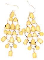 Boho style yellow acrylic stone chandelier earrings