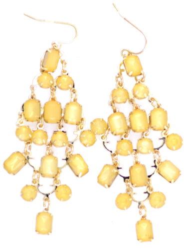 Style bohême jaune acrylique pierre lustre boucles d/'oreilles