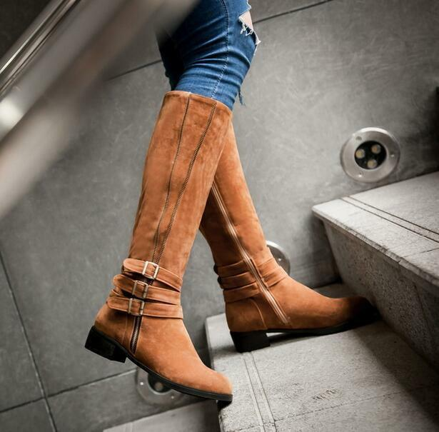 Women's Low Heel Ridding Knee High Boots Suede Casual Buckles Zip Knight shoes