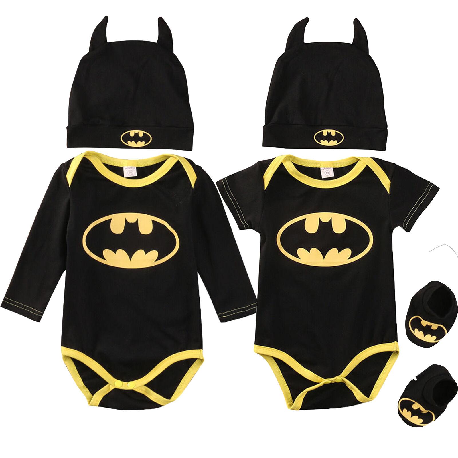 Newborn Baby Boy Batman Outfit Babygrow Romper+Socks Shoes+Hat  3Pcs Set Clothes