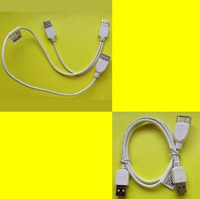 USB Dual Power Y Cable/Lead/Splitter 2x Type A Male TO 1 x A Female 50cm White