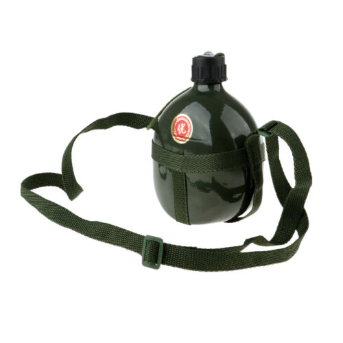 Army Military Canteen Water Bottle Camping Hiking Retro Container w// Strap