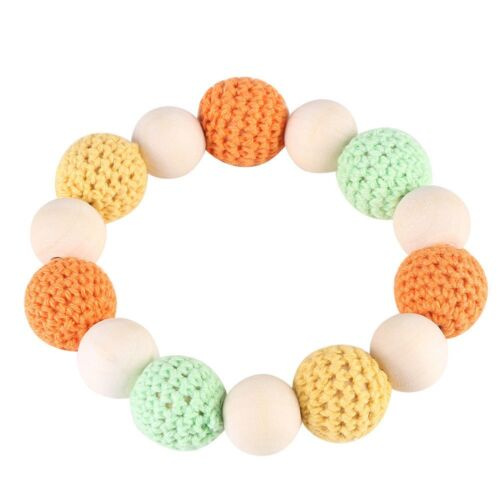Handmade Natural Wooden Crochet Bead Ring Baby Teether Teething Shower Gift