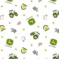 John Deere Animal Toss Farm Animals Tractors Logos 100% Cotton White Fabric BTY