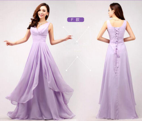 Purple Womens Long Evening Bridesmaid Formal Cocktail Party Ball Gown Prom Dress