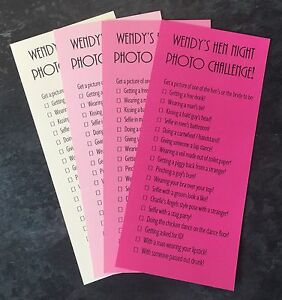 Image Is Loading Personalised Hen Night Party Photo Challenge Cards