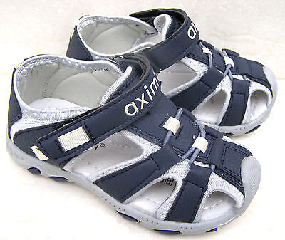 NEW BOYS LEATHER LINED CAP TOES NAVY GREY SPORTS SANDALS HOLIDAY SUMMER SHOES UK