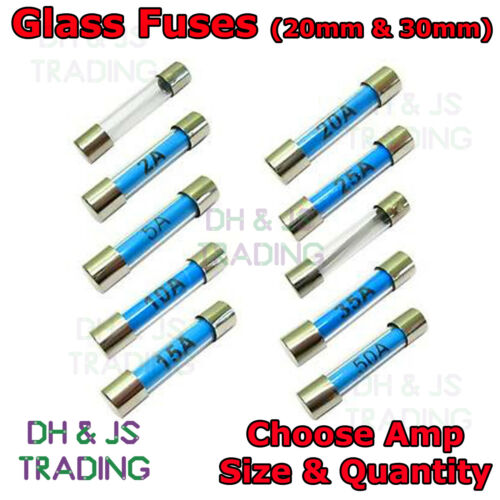 Glass Fuses 20mm 30mm Radio Fast Acting Quick Blow Glass Fuse 1 To 50 AMP
