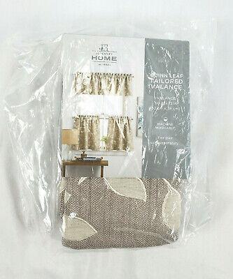 JCPenney Home Quinn Leaf Rod-Pocket Tailored Valance Sullivan khaki 60X15