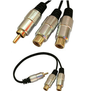 1 Rca Male To 2 Phono Splitter Y Adapter Female Cable Lead