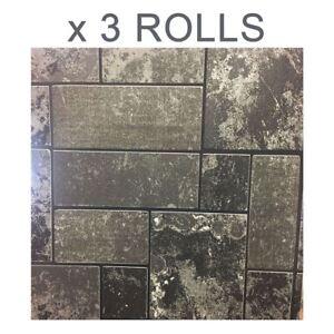 Details About Black Glitter Brick Wallpaper Stone Tile Kitchen Bathroom Textured Vinyl X 3