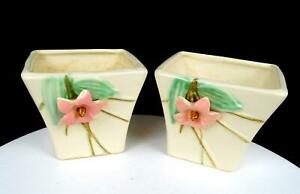 "McCOY POTTERY USA BLOSSOM TIME PINK DOGWOOD RELIEF MATCHED 4"" FLOWER POTS 1940's"