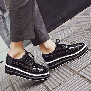 Fashion-Womens-Wing-Tip-Brogue-Casual-Oxfords-Shoes-Lace-Up-Platform-Creeper-New