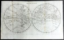 1715 William Dampier Antique Twin Hemisphere World Map, California Is. Australia