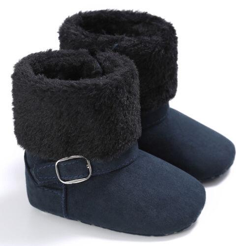 Newborn Baby Booties Boy Girl Buckle Fur Shoes Winter Warm Soft Boots Prewalker