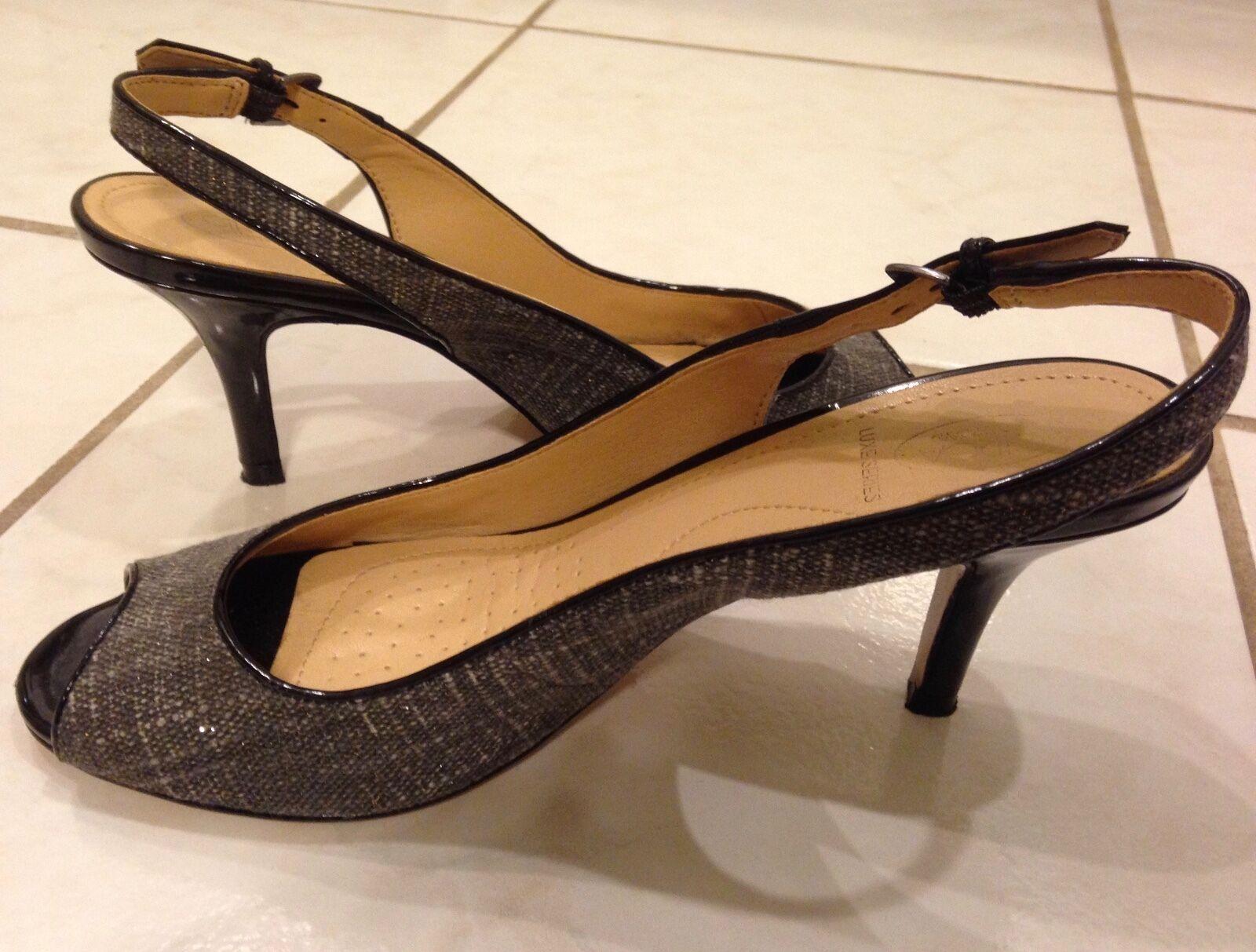Circa Series Joan & David Luxe Series Circa size 7M dark grey fabric 3 inch slingback heels d71cd5