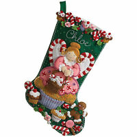 Felt Embroidery Kit ~ Plaid-Bucilla Cupcake Angel Christmas Stocking #86207