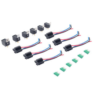 Details zu 6Pack 12V 30A Fuse Relay Switch Harness Set SPST 4Pin 14 on