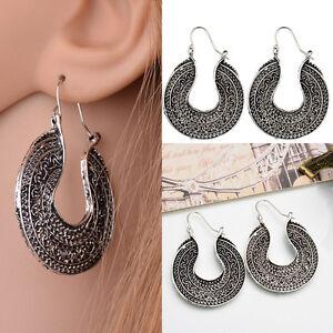 280854f6eba5c Details about 2019 Vintage Tibetan Silver Hoop Earrings Ethnic Tribal Boho  Dangle Earrings