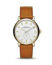 """New Women's MARC JACOBS """"Baker"""" Wrist Watch Goldtone Case Brown Leather Band"""