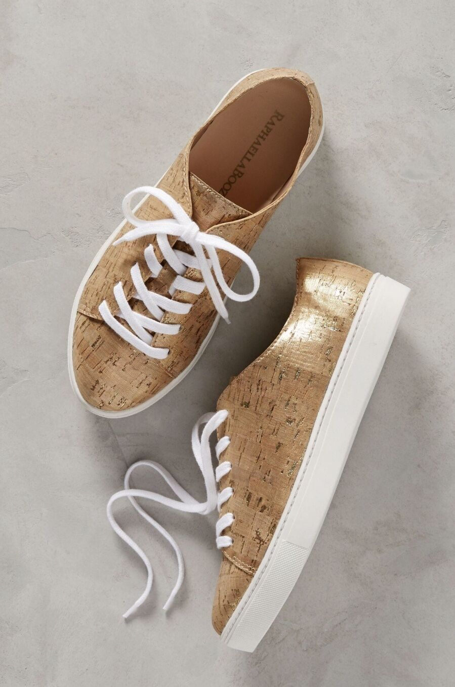 NIB Anthropologie Raphaella Booz Gold Metallic Cork Lace Up Sneakers 8