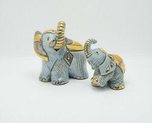 De Rosa Rinconada Blue Gold Platinum Enamel Elephant 1719 & Baby Elephant 1704