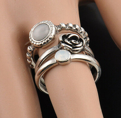 Vintage 3x Sets Punks Stack Plain Silver Cute Above Knuckle Band Midi Rings