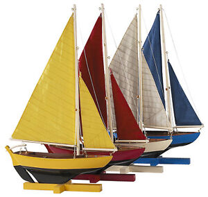 Colorful Sunset Sailors Set of 4 Sailboat Models Nautical Sailing Dinghy Decor