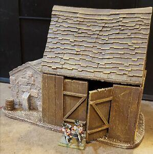 28mm Pmc Games Me56 (peint) Grange de stockage avec 2 dépendances en pierre