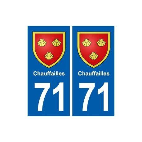 71 Chauffailles blason autocollant plaque stickers ville -  Angles : droits