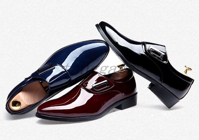 Elegante Uomo Casual Scarpe a Punta Britannico brevetto in pelle Fibbia Scarpe Formali Abito Britannico Punta Scarpe classiche da uomo e4233d