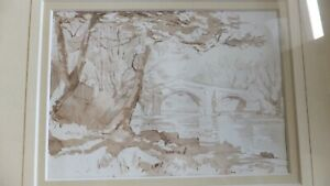 Original-Old-Sepia-Watercolour-Painting-of-old-bridge-in-ILkley-West-Yorkshire