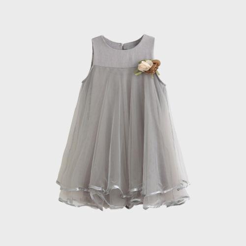 Toddler Baby Girls Chiffon Dress Sleeveless Princess Drape Dress+Flower Brooch